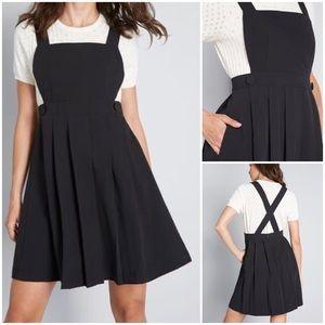 MODCLOTH Black Jumper Smock Dress Cross Back XL